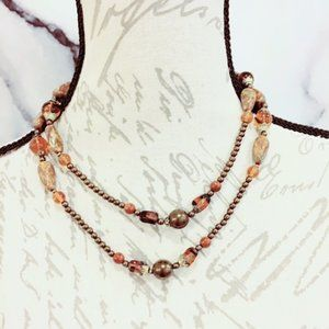 Bronze and Glass Beaded Necklace